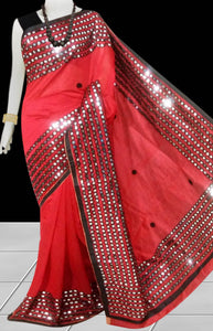 Red Color Cotton silk Mirror work Handloom saree