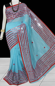 Sky Blue Color Cotton silk Mirror work Handloom saree