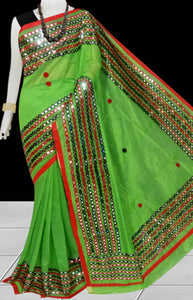 Green & Red Cotton silk Mirror work Handloom saree