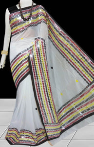 White & Black Cotton silk Mirror work Handloom saree