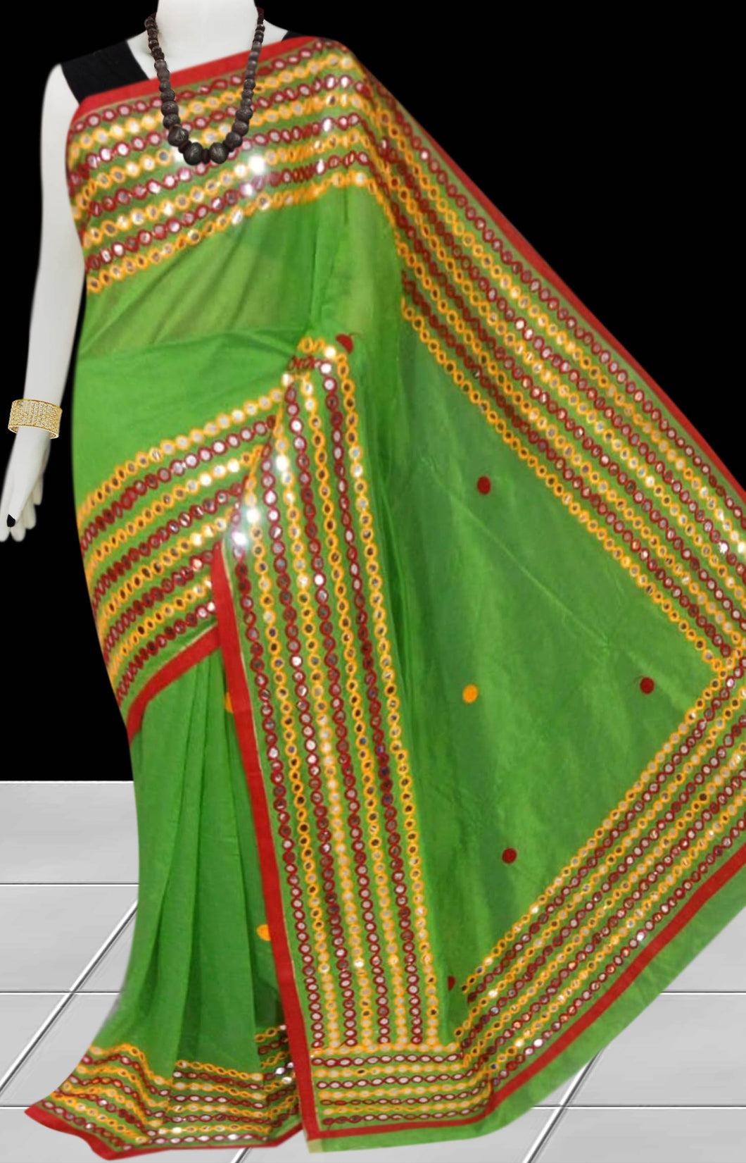 Light Green Cotton silk Mirror work Handloom saree