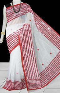 White & Maroon Color Cotton silk Mirror work Handloom saree