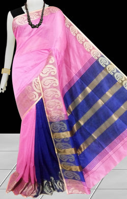 Pink & Blue Color cotton silk saree with Velvet border