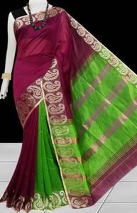 Magenta & Green Color cotton silk saree with Velvet border