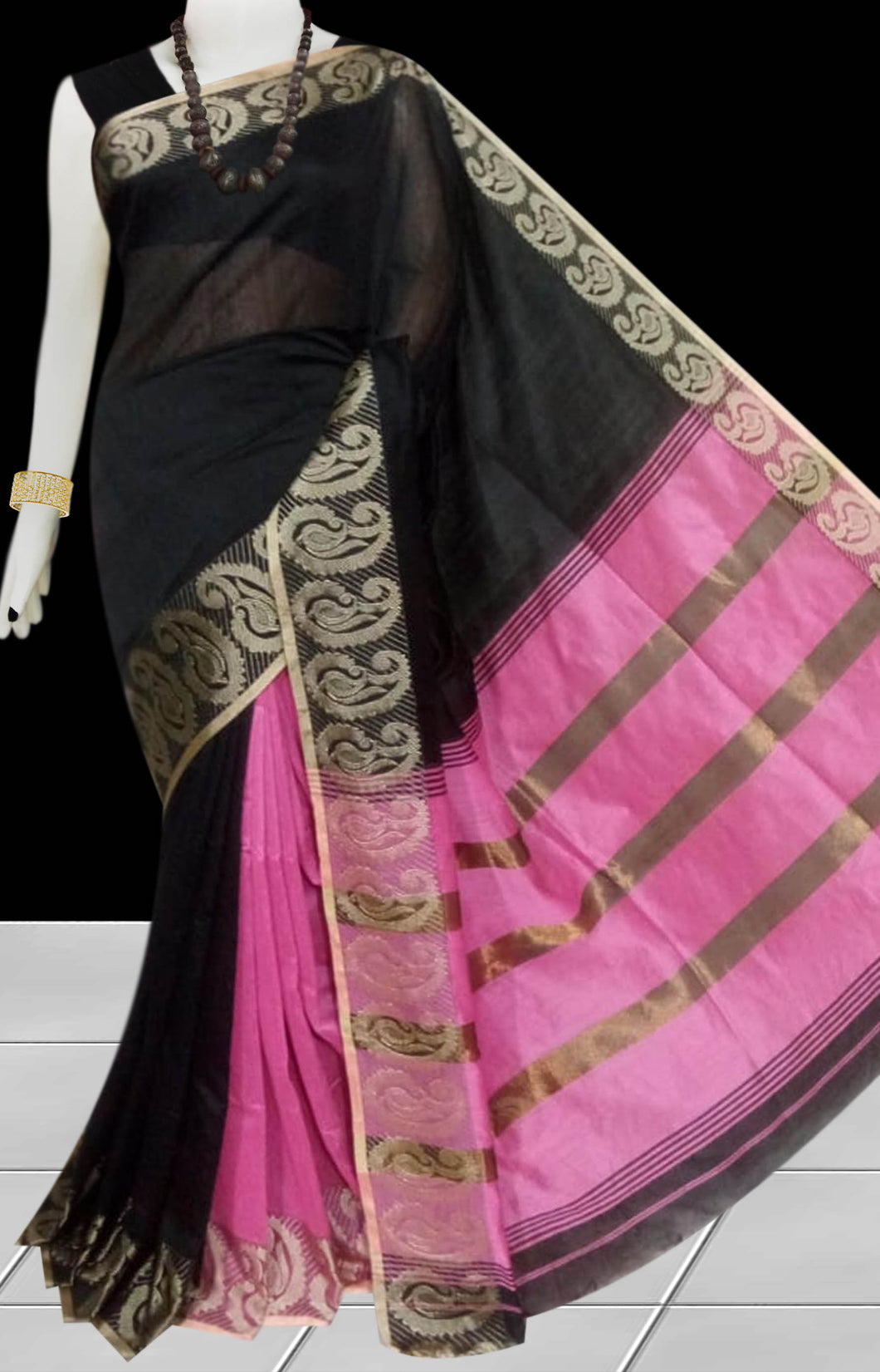 Black & Pink Color cotton silk saree with Velvet border