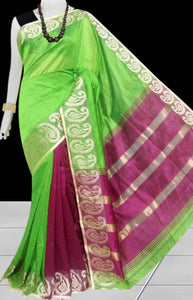 Green & Pink Color cotton silk saree with Velvet border
