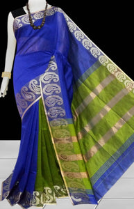 Green & Blue Color cotton silk saree with Velvet border