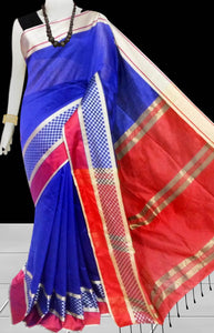 Royal Blue & Red Color cotton silk saree with Velvet border