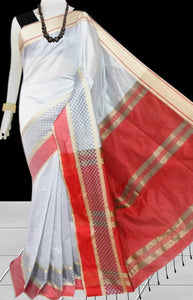 Silver & Red Color cotton silk saree with Velvet border