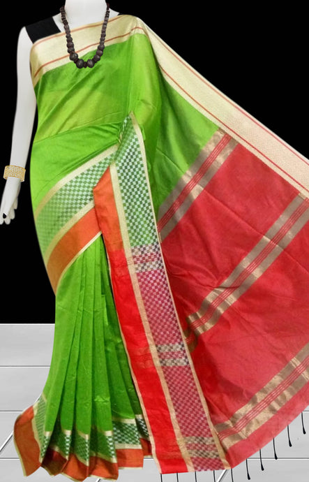 Green & Red Color cotton silk saree with Velvet border