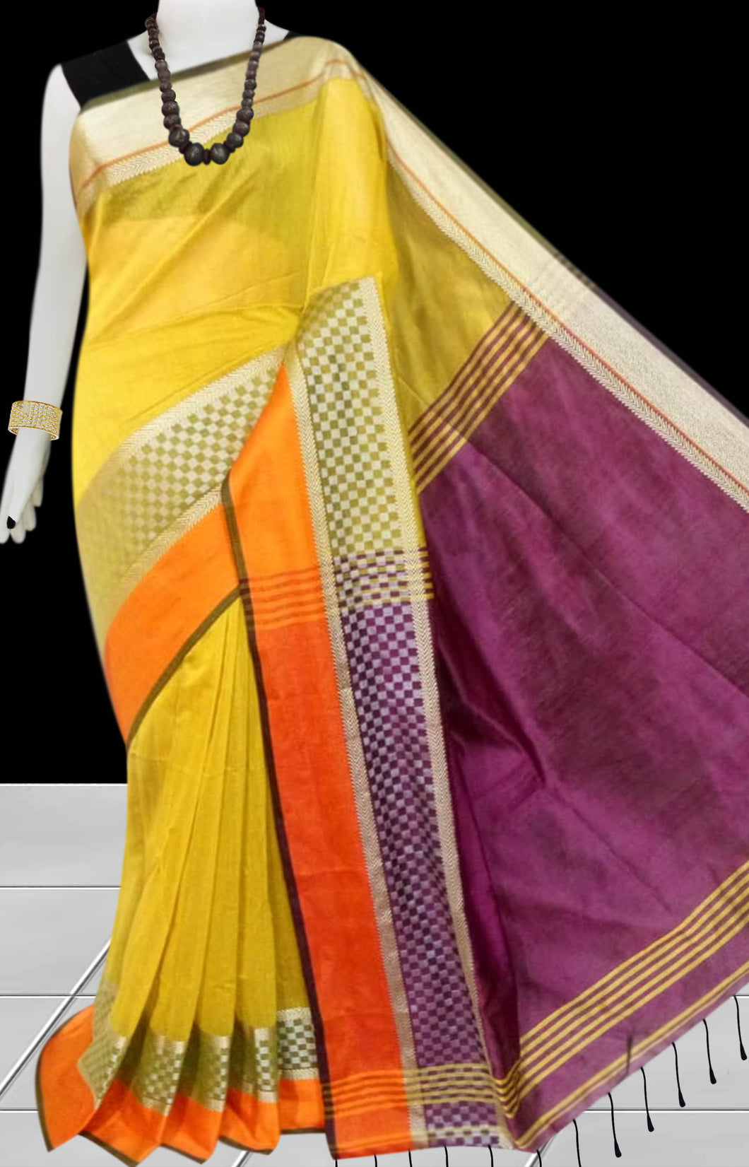 Yellow & Purple Color cotton silk saree with Velvet border
