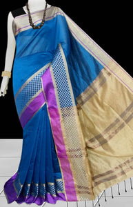 Blue & Beige Color cotton silk saree with Velvet border