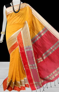 Yellow & Red Color cotton silk saree with Velvet border