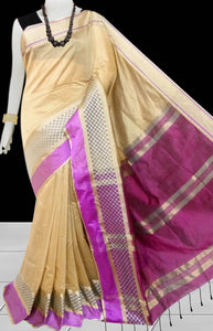 Beige & Purple Color cotton silk saree with Velvet border