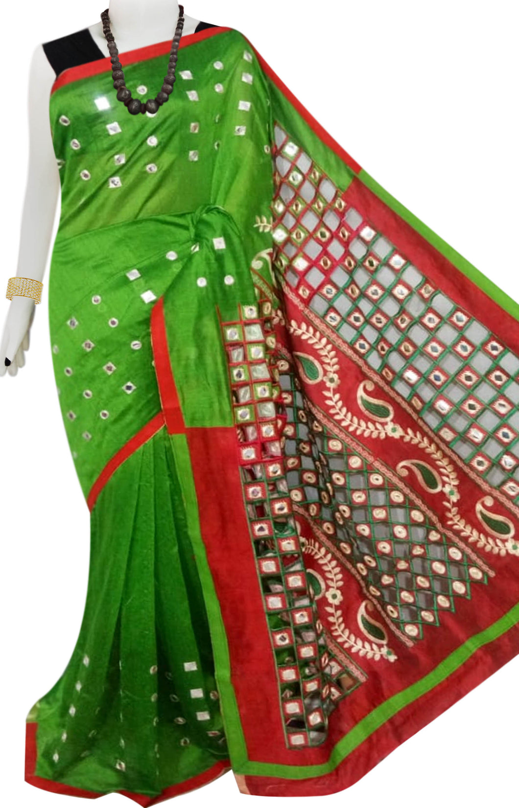 Dark Green & Red Cotton silk cut work Handloom saree