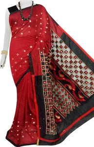 Red & Black Cotton silk cut work Handloom saree