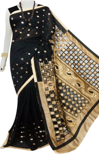 Black & Golden silk cut work Handloom saree