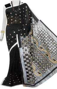 Black & Grey Cotton silk cut work Handloom saree