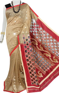 Beige & Red Cotton silk cut work Handloom saree