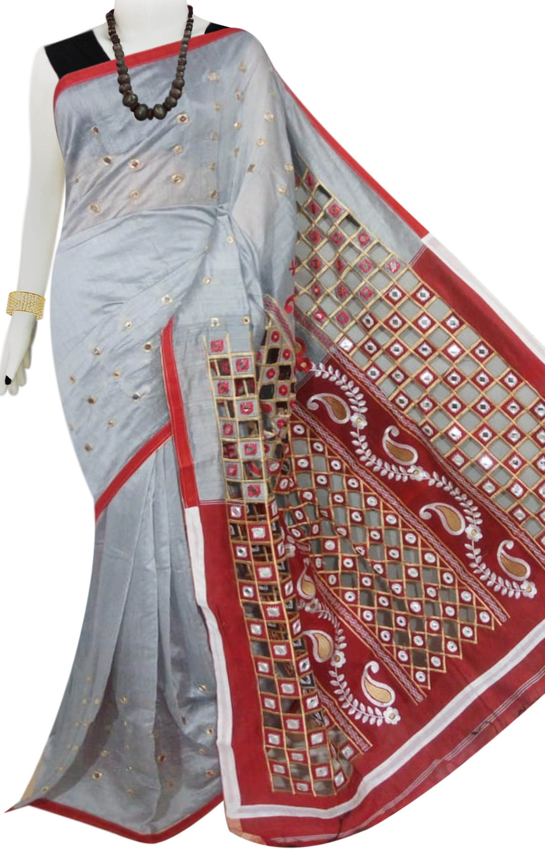 Silver & Red Cotton silk cut work Handloom saree
