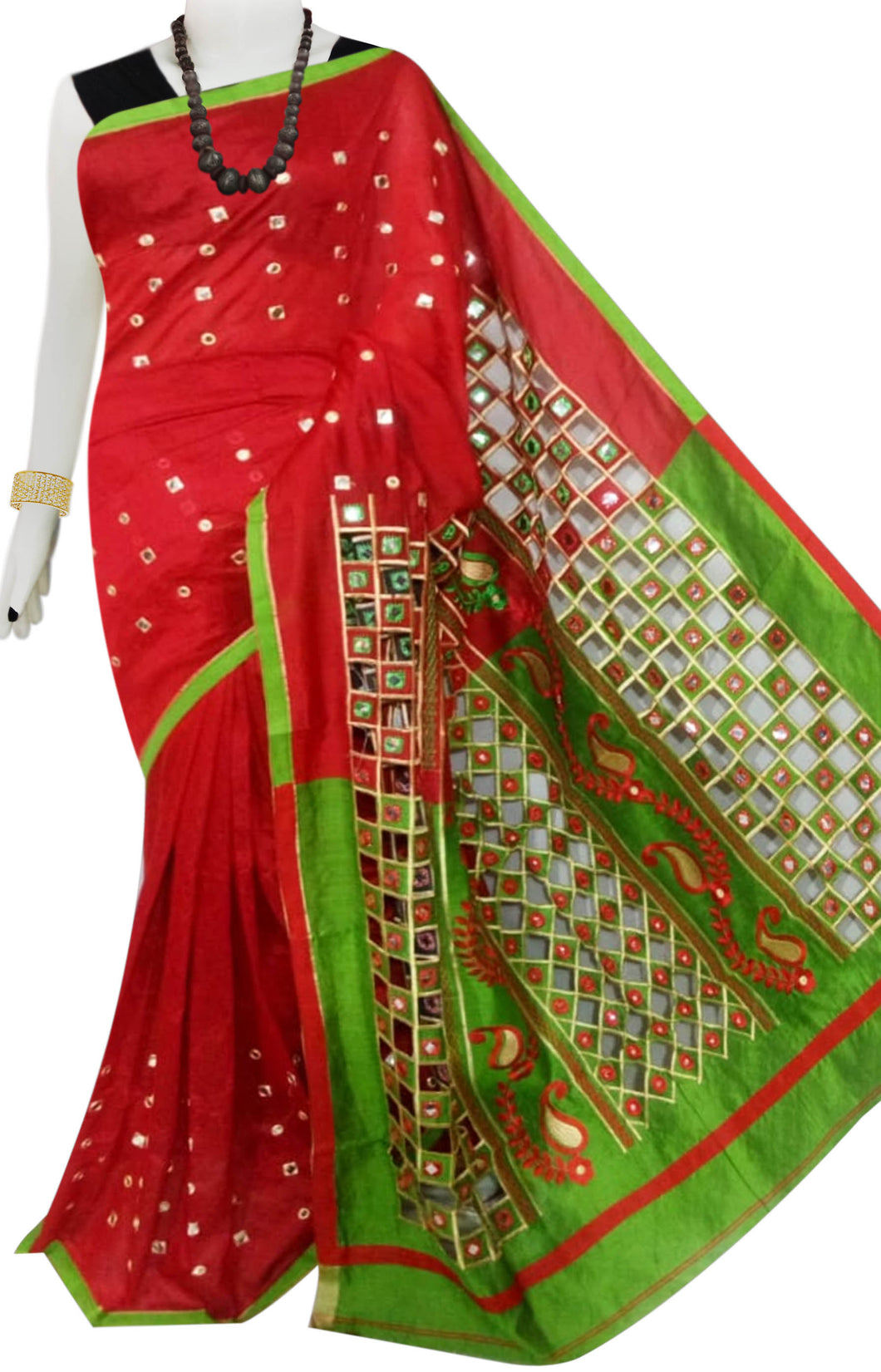 Green & Red Cotton silk cut work Handloom saree