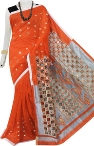 Orange & Grey Cotton silk cut work Handloom saree
