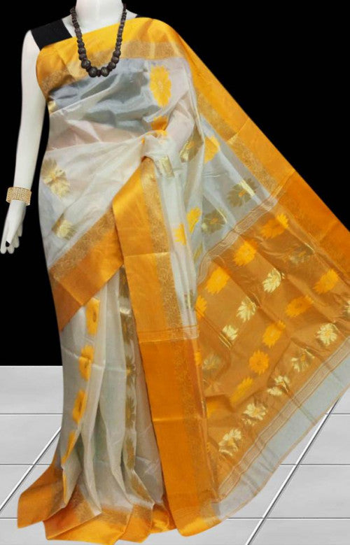 Stunning yellow & white color tussar silk saree with tussar silk threaded