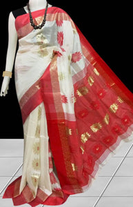 Gorgeous red & white color semi tussar silk saree