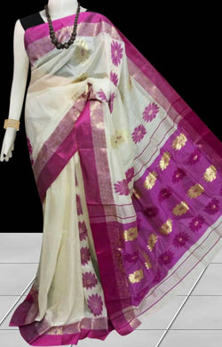 Elegant color combination semi tussar silk saree