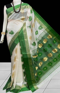 Fresh green & white color tussar silk saree with tussar silk threaded