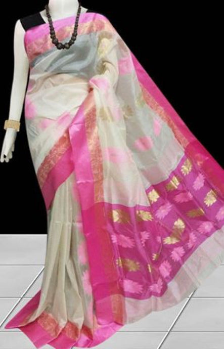 Lovely pink & white color semi tussar silk saree with tussar silk threaded