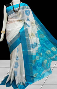 Skyblue & white color semi tussar silk saree