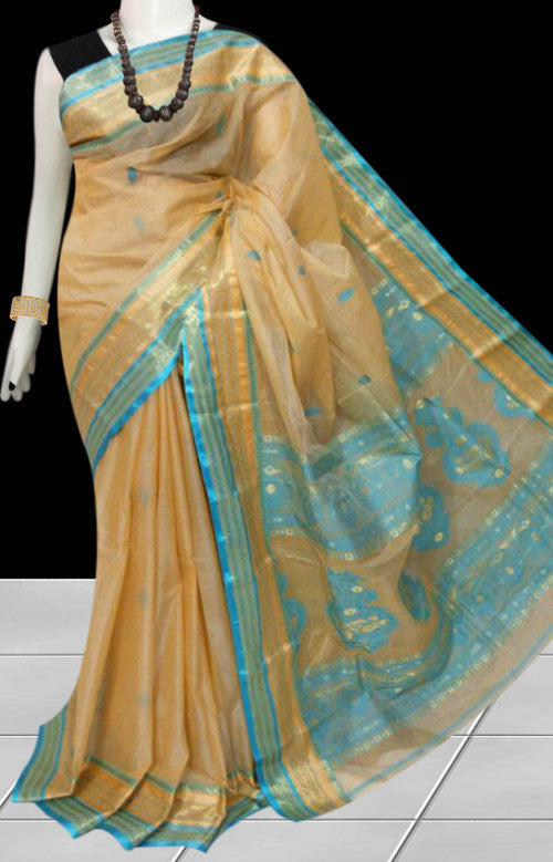 Sober color combination tussar silk saree with tussar silk threaded
