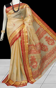 Tussar silk saree with tussar silk threaded
