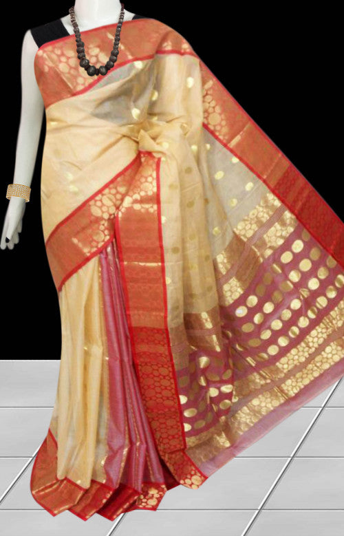 Elegant red & cream color tussar silk saree with tussar silk threaded