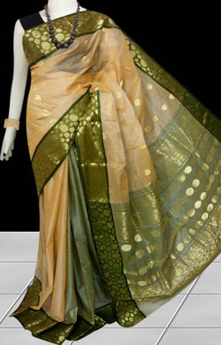 Beige & green color tussar silk saree