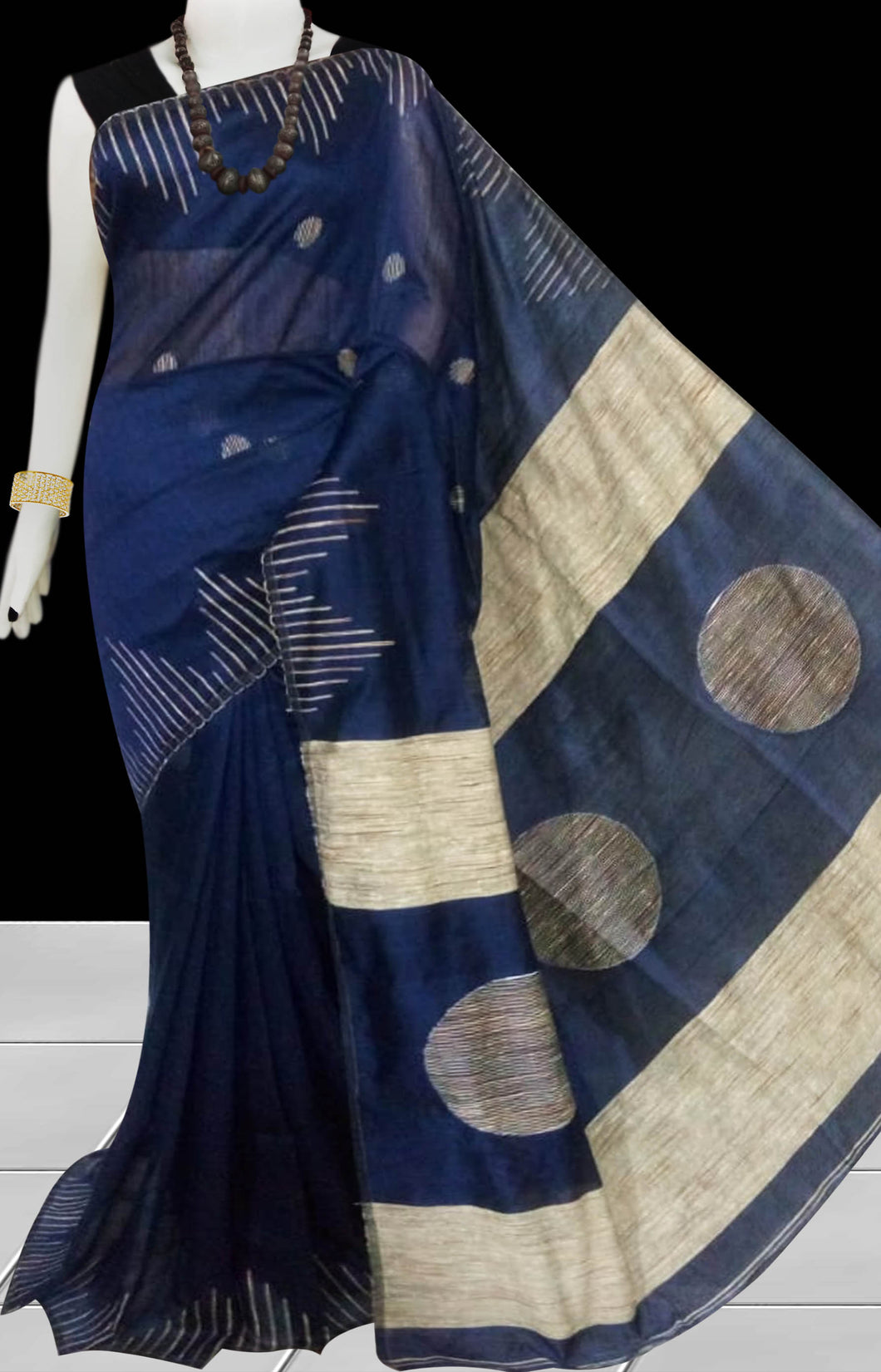 Navy color Cotton Silk Handloom Saree with overall ghicha work