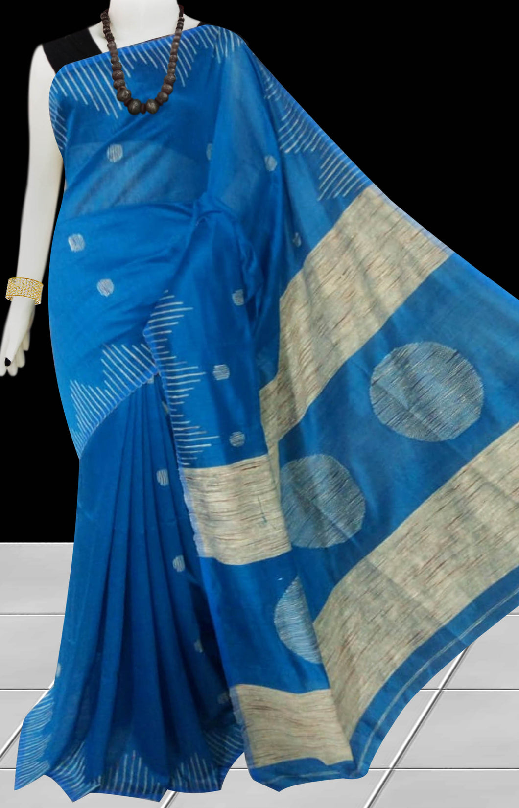 Ink Blue color Cotton Silk Handloom Saree with overall ghicha work