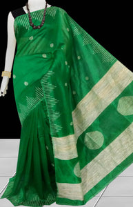 Dark Green color Cotton Silk Handloom Saree with overall ghicha work
