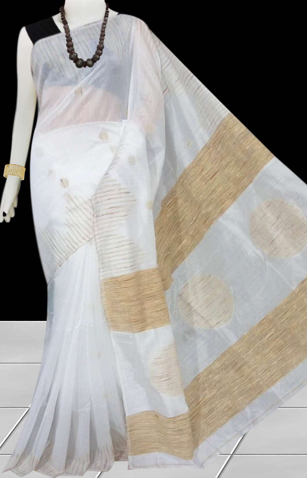 White color Cotton Silk Handloom Saree with overall ghicha work