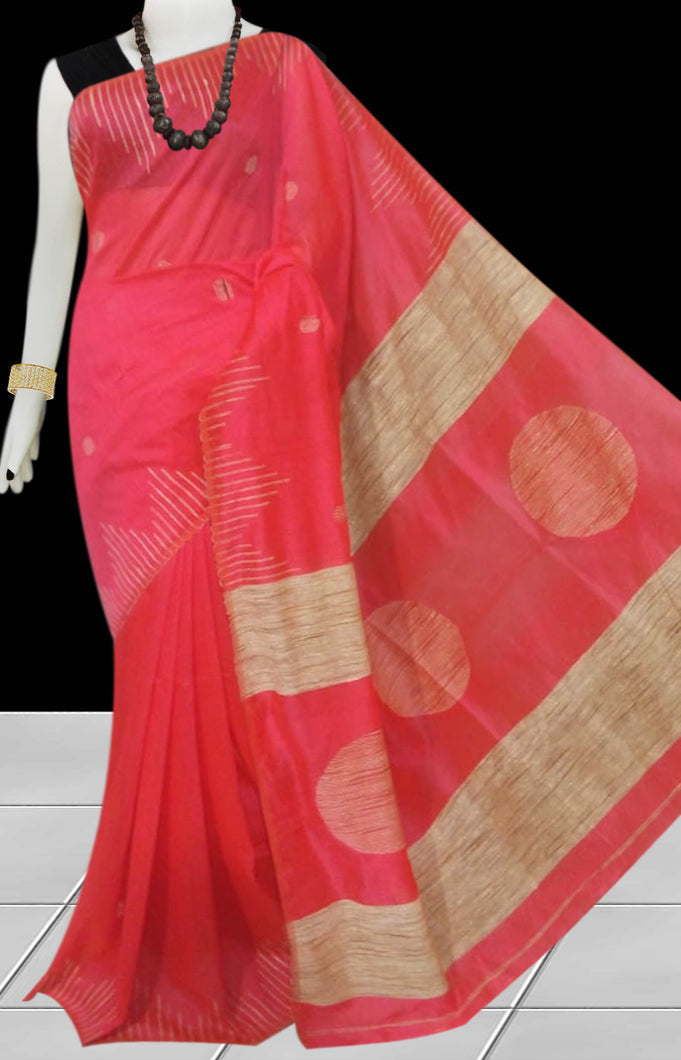 Coral color Cotton Silk Handloom Saree with overall ghicha work