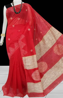 Red color Cotton Silk Handloom Saree with overall ghicha work