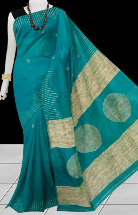 Rama Green color Cotton Silk Handloom Saree with overall ghicha work
