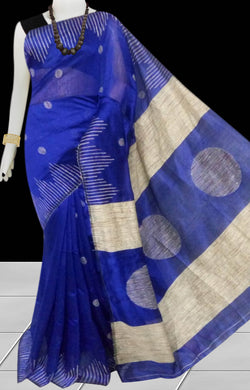 Blue color Cotton Silk Handloom Saree with overall ghicha work