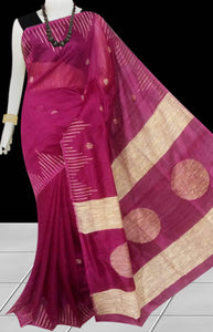 Magenta color Cotton Silk Handloom Saree with overall ghicha work
