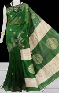Bottle Green color Cotton Silk Handloom Saree with overall ghicha work