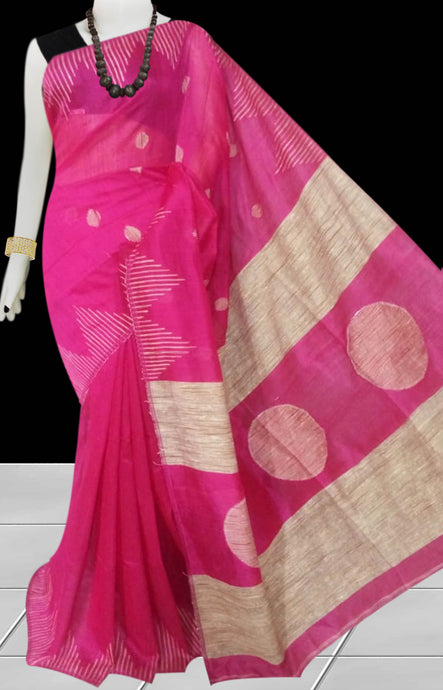 Pink color Cotton Silk Handloom Saree with overall ghicha work