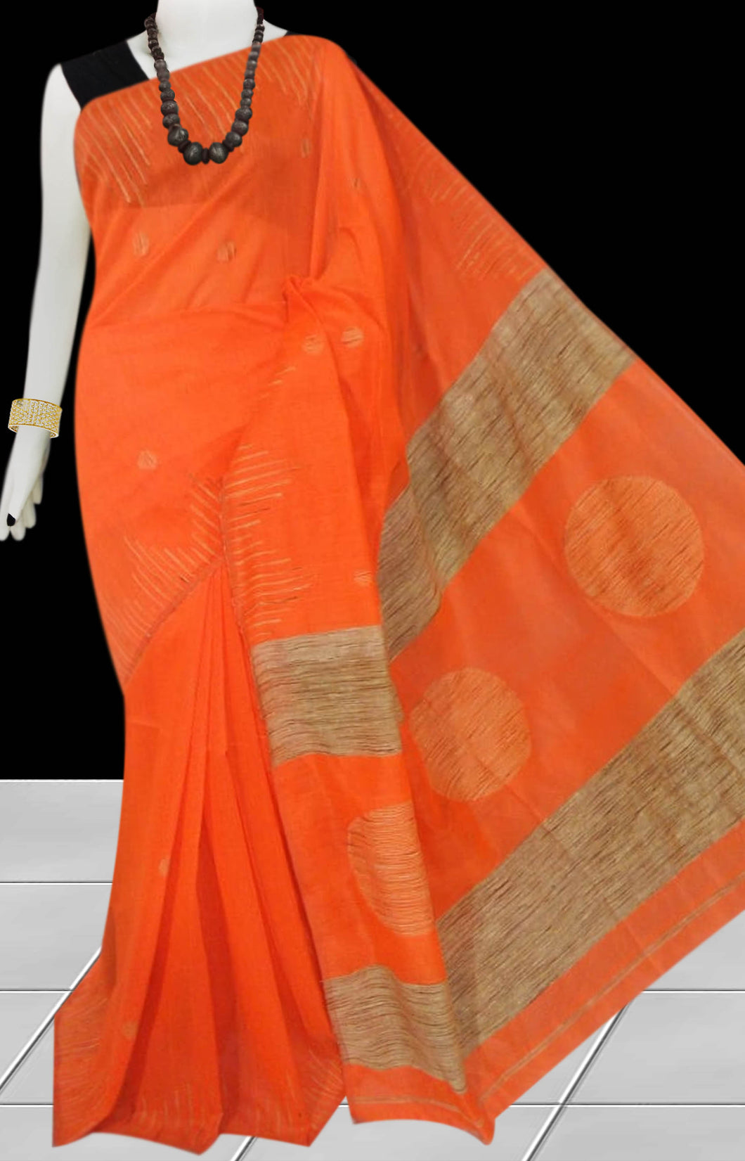 Orange color Cotton Silk Handloom Saree with overall ghicha work