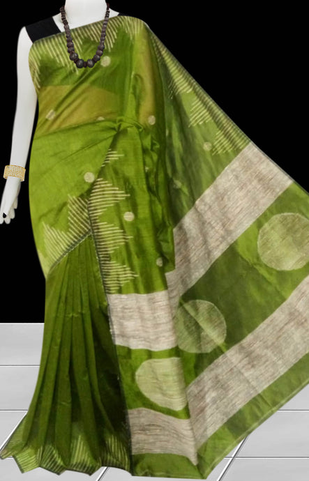 Dark Olive Green color Cotton Silk Handloom Saree with overall ghicha work