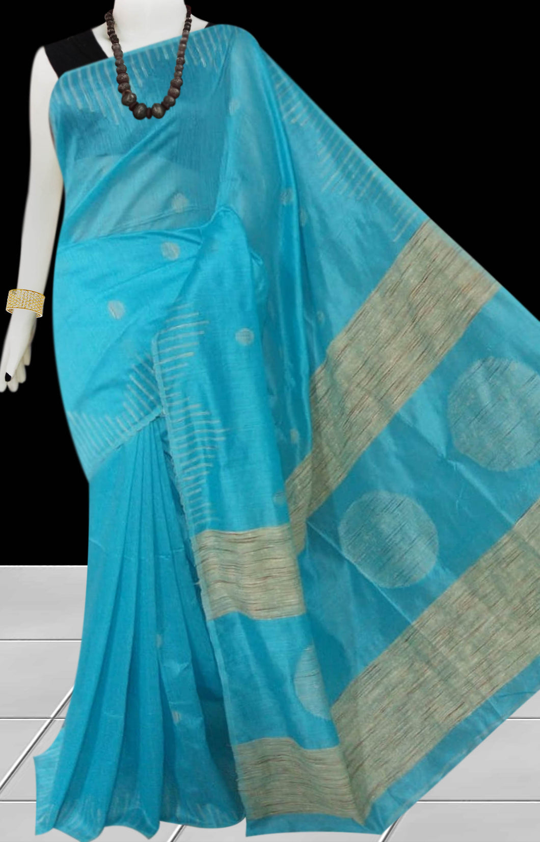 Sky Blue color Cotton Silk Handloom Saree with overall ghicha work